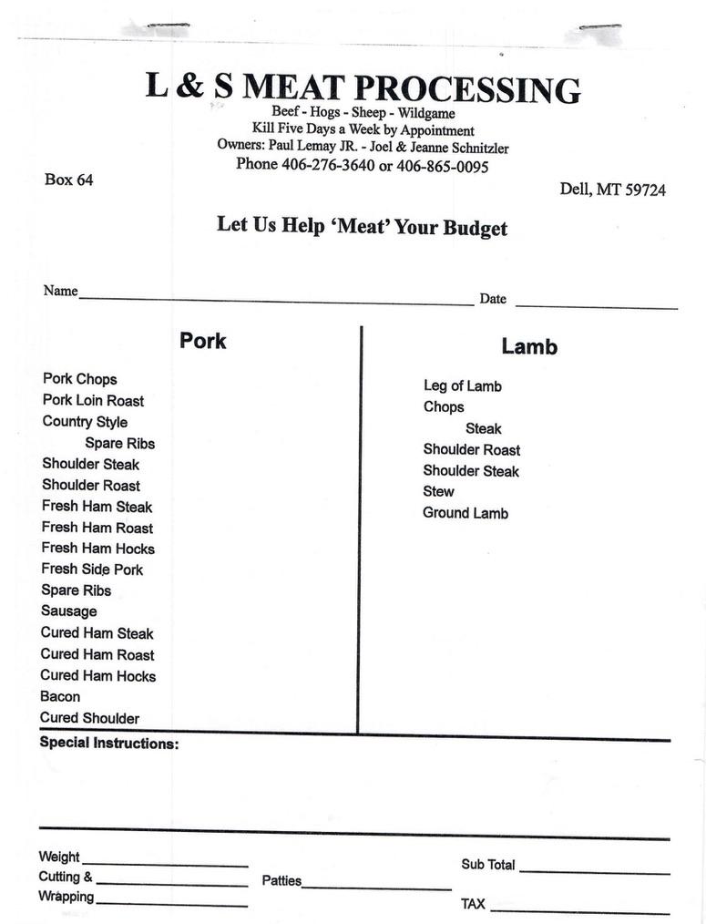 lamb and hog cut sheet